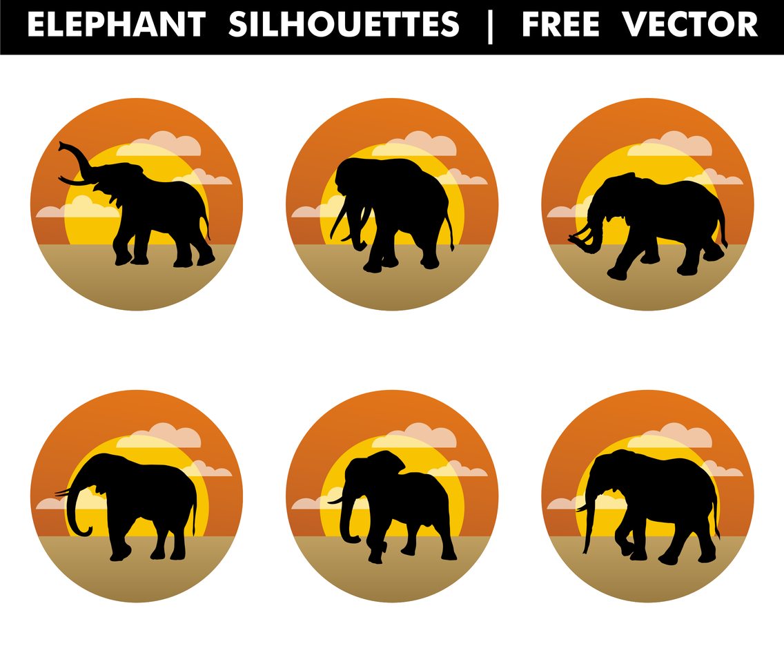 Elephant Silhouettes Free Vector