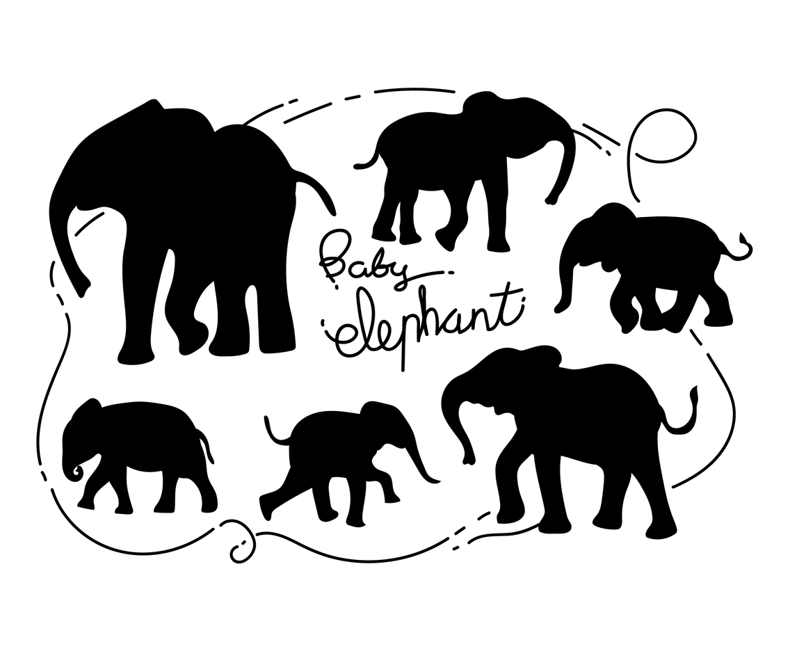 Free Baby Elephant Silhouette Vector Illustration