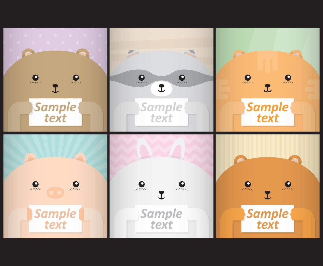 cute animal templates set of cute animal templates for your self ...