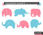 Cute Elephant Silhouette Free Vector Pack