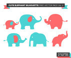 Cute Elephant Silhouette Free Vector Pack Vol. 2