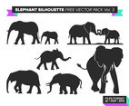 Elephant Silhouette Free Vector Pack Vol. 3