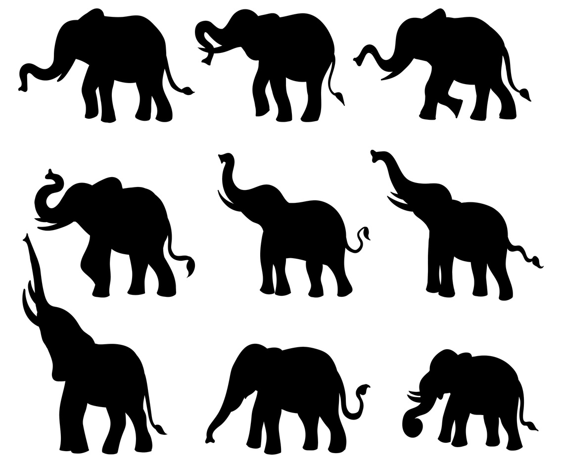 Free elephant silhouette Icons Vector