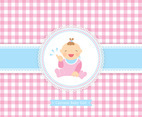 Free Vector Baby Girl Cartoon Card