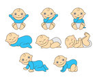Set Of Baby Cartoon Vector
