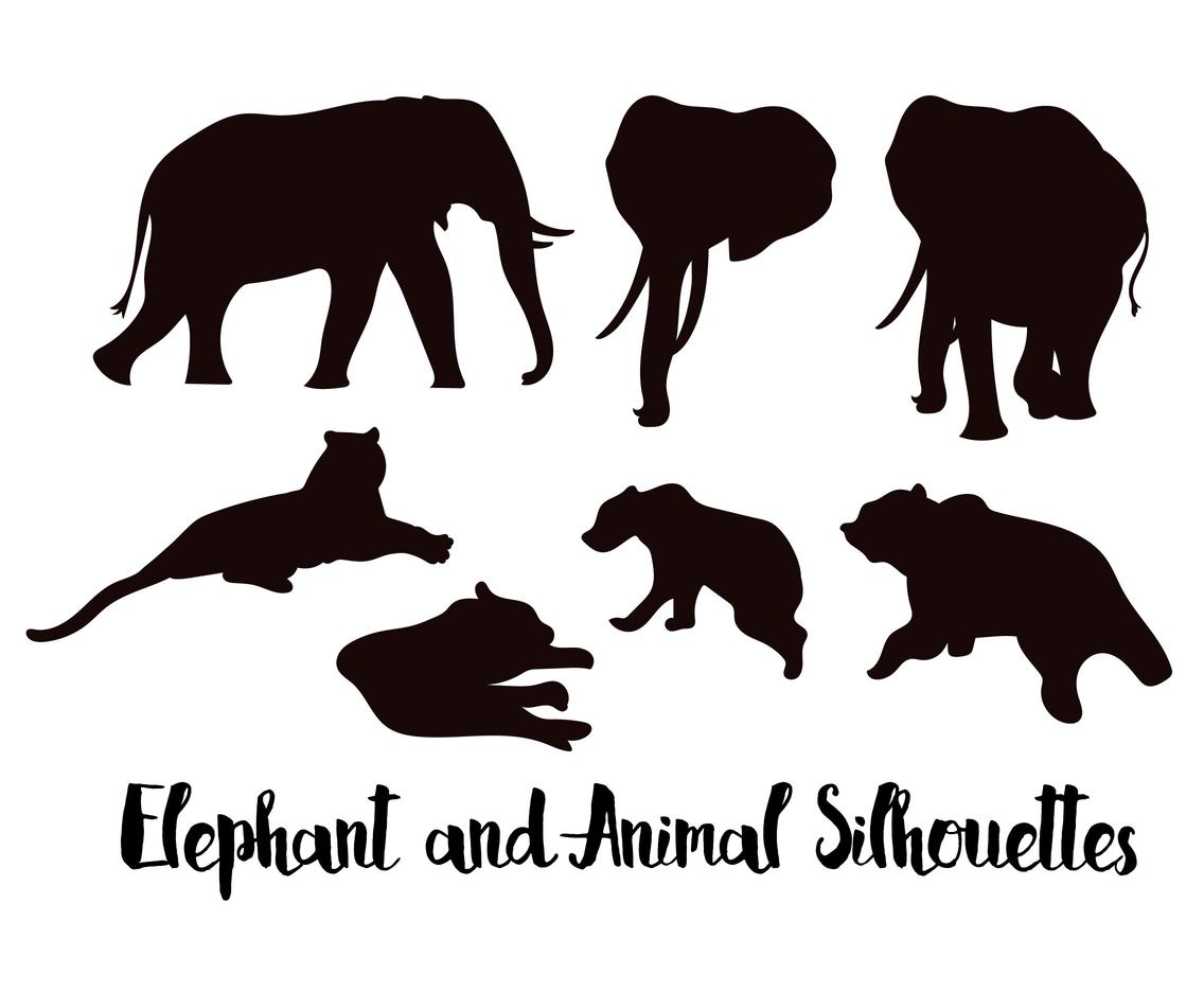Elephant Silhouette with Animals