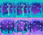Forest Background Blue Set