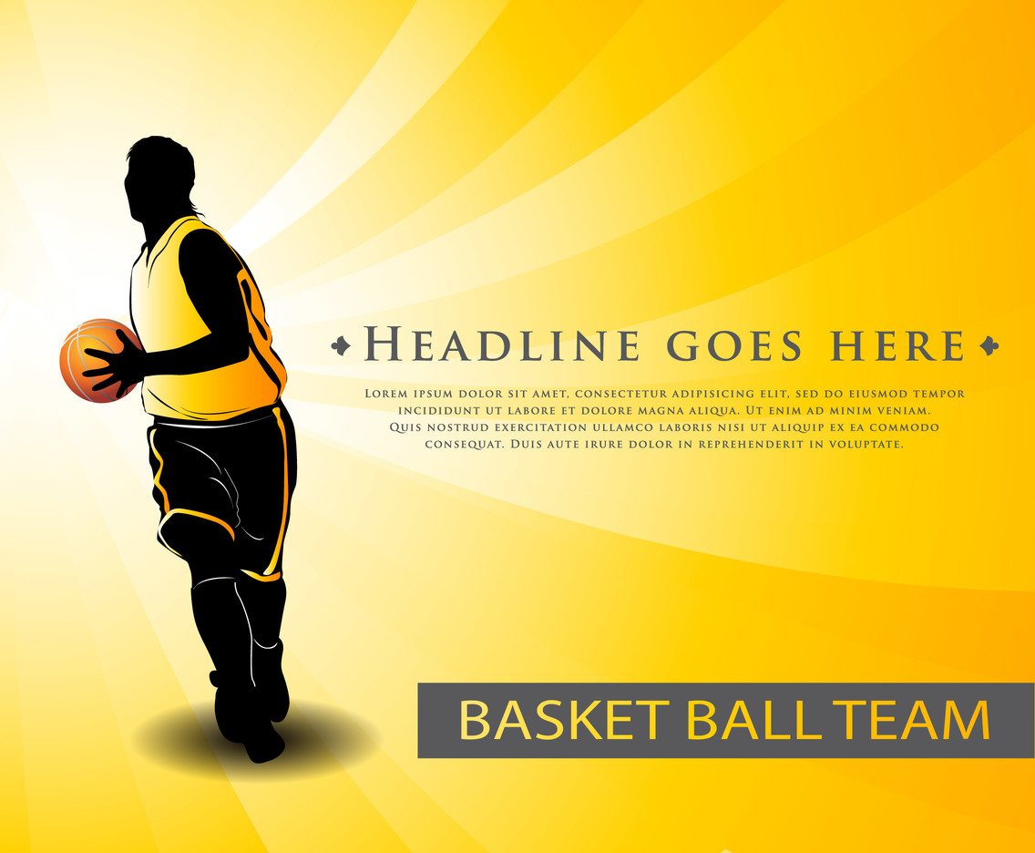 Basketball Team Yellow  Background Template