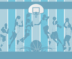 BaketBall Team background blue grid