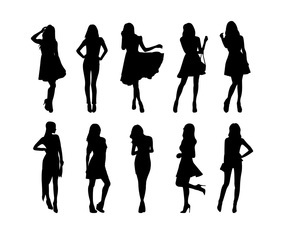 Set Of Woman Silhouettes Vector