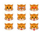 Free 9 Emoticons of Tiger