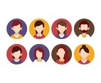 Free People Hairstyle Flat Icon Set