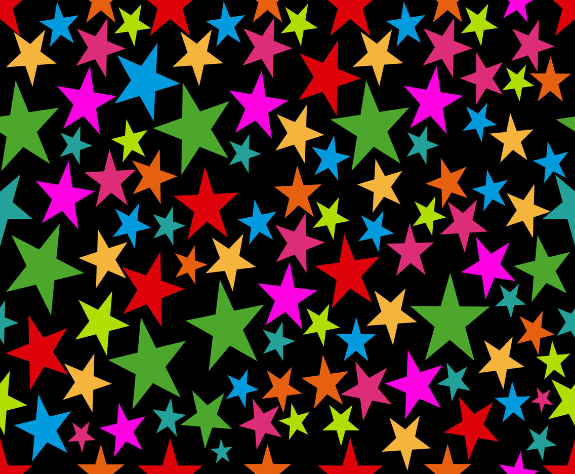 Colorful Stars On Black Background, Vector Seamless Pattern