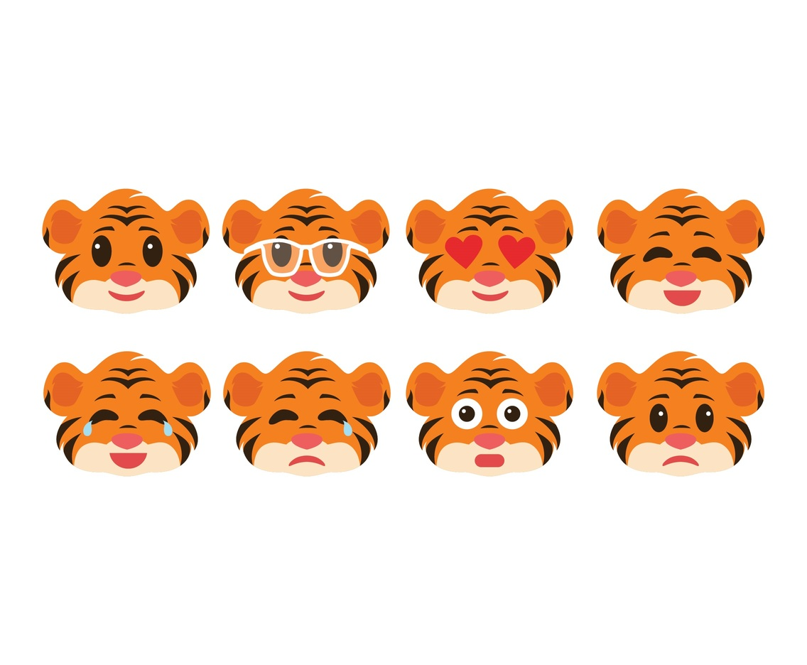 Free Cute Tiger Emoticon Pack