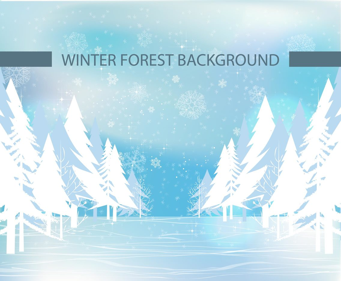 Vector image of a winter forest