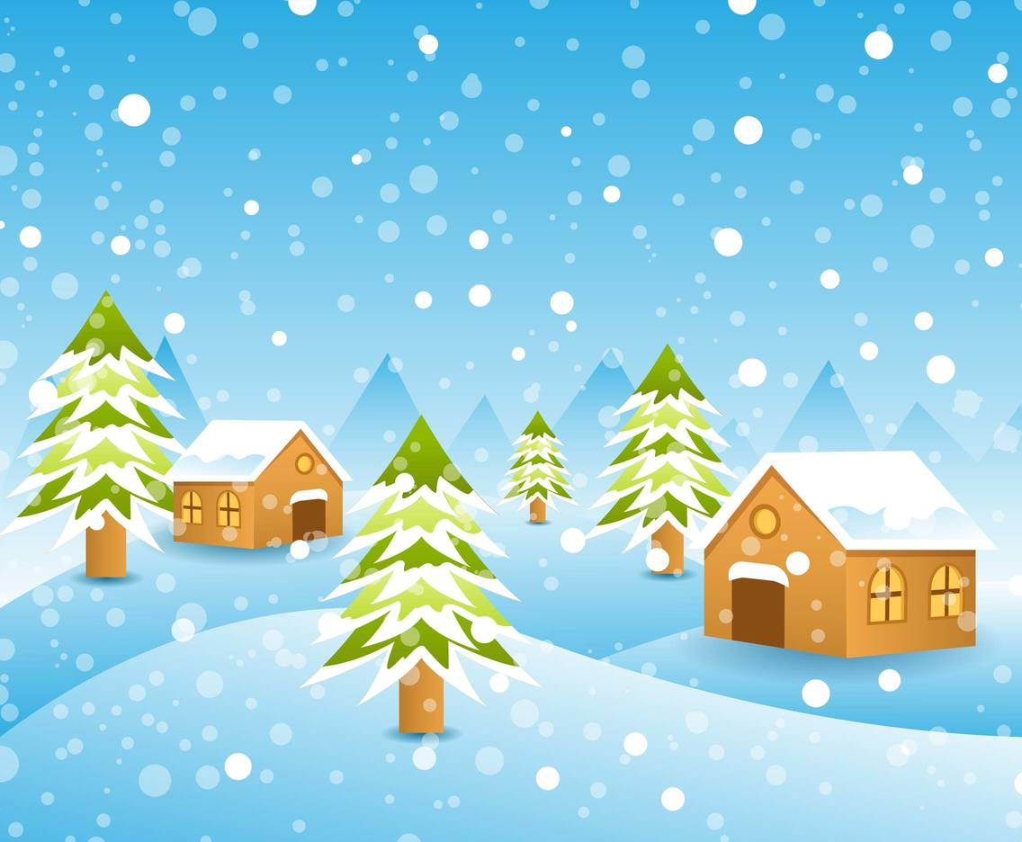 Free Winter Landscape Background Vector