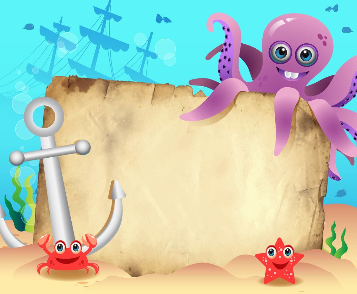 Cartoon Octopus with Shipwreck Vector