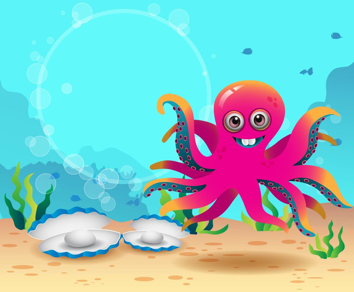 Cartoon Octopus with Clams Vector