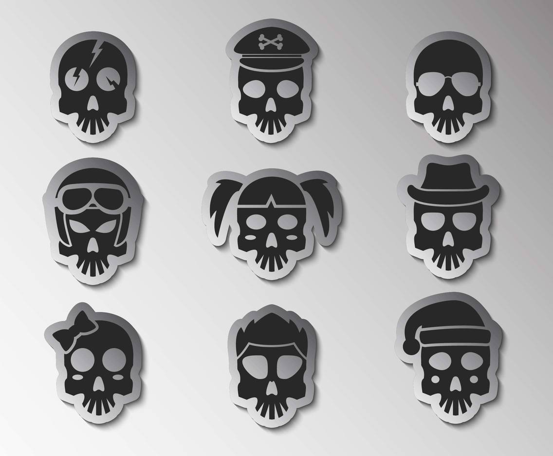 Free Cartoon Skull Stickers Vector