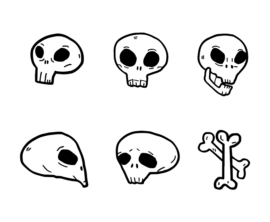 Cartoon Skull Vector Set