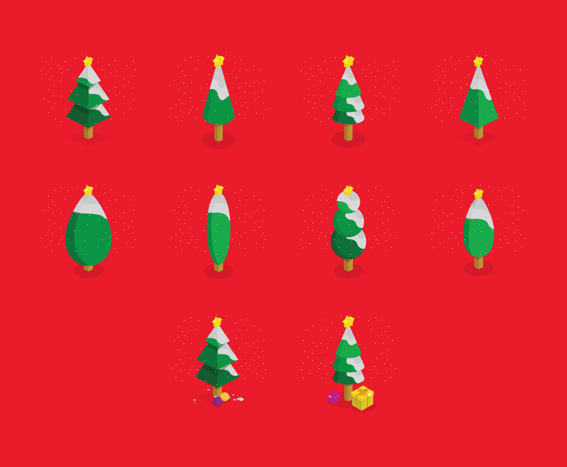Cartoon Christmas Tree Isometric Icon Set