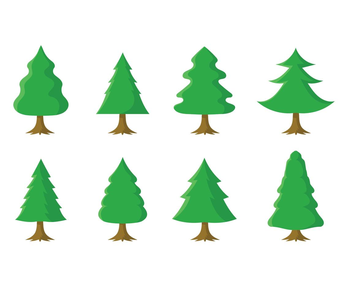 Free Cartoon Christmas Tree Set