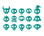 Cartoon Skull Flat Vector Collection
