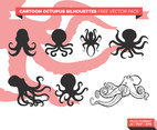 Cartoono Octopus Silhouettes Free Vector Pack