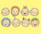Baby cartoon head icons