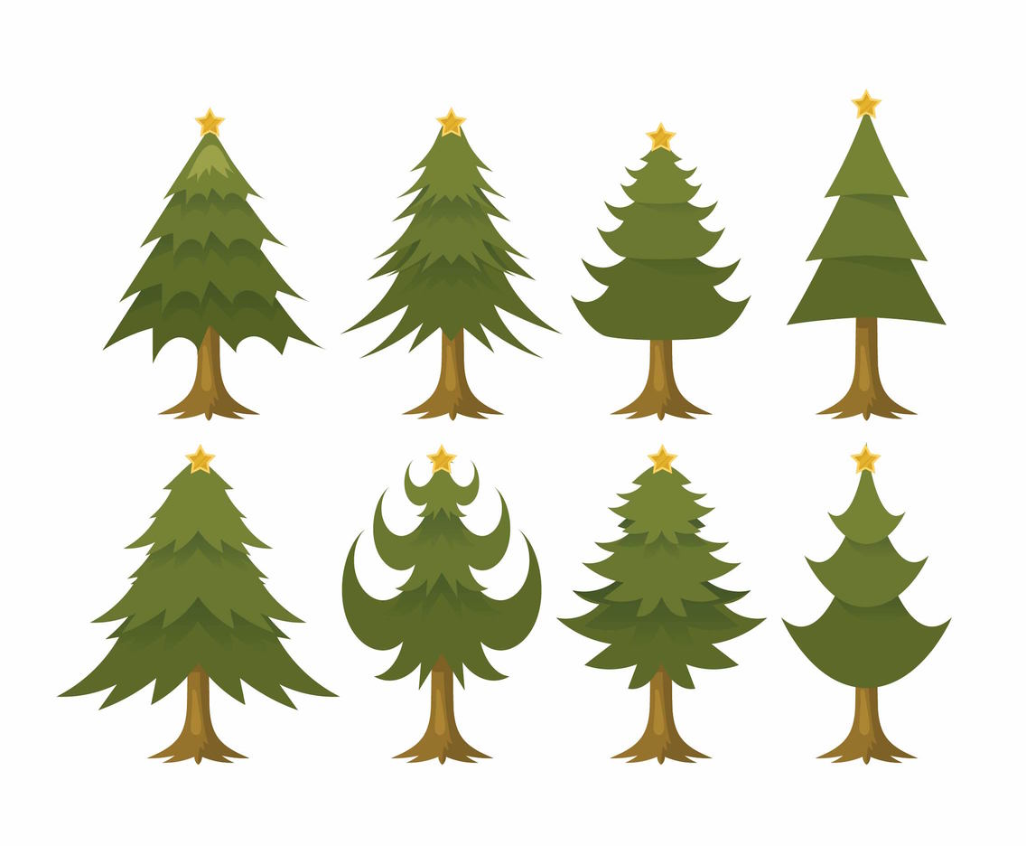 Free Cartoon Christmas Tree Vector Set