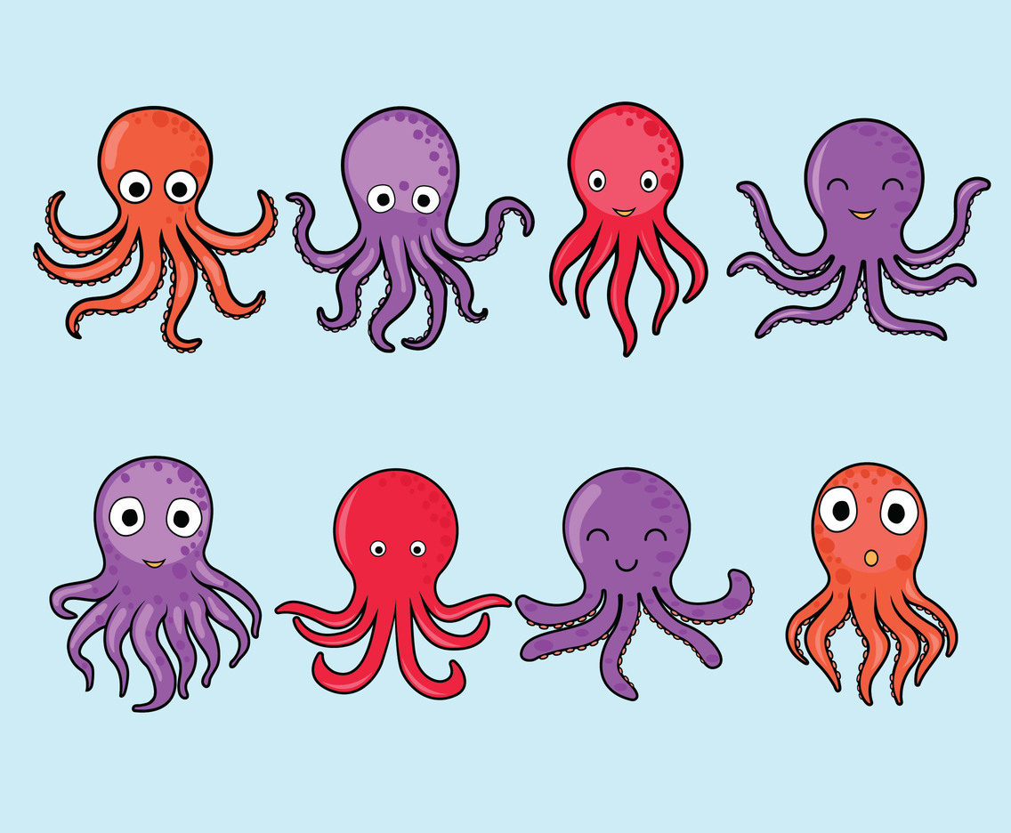 Cartoon Octopus Vector Set