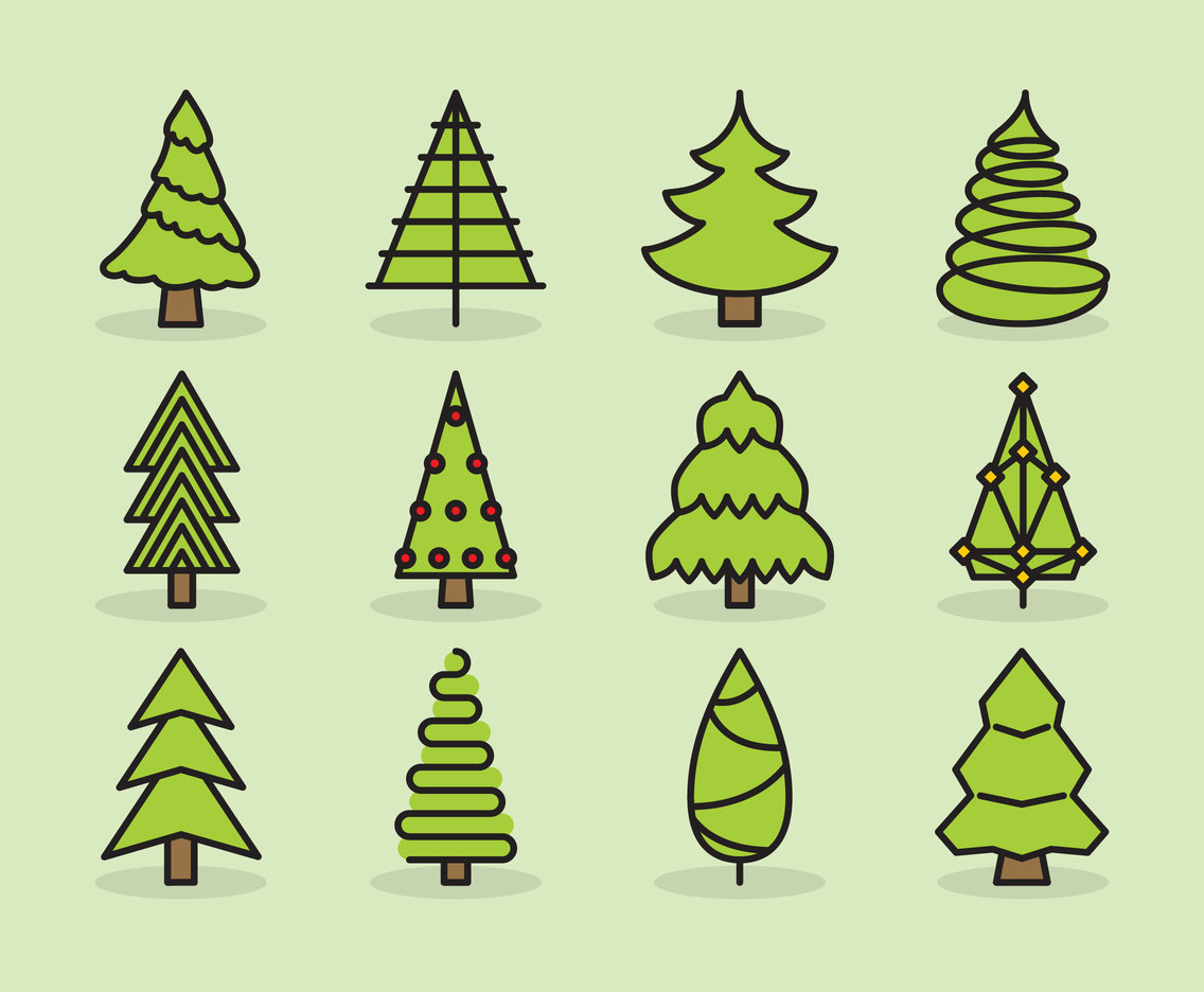 Cute Christmas Tree Icons Vector Art & Graphics