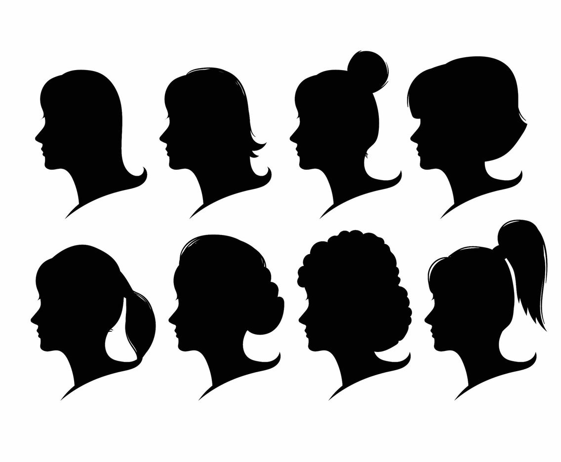 Woman Face Silhouette Set