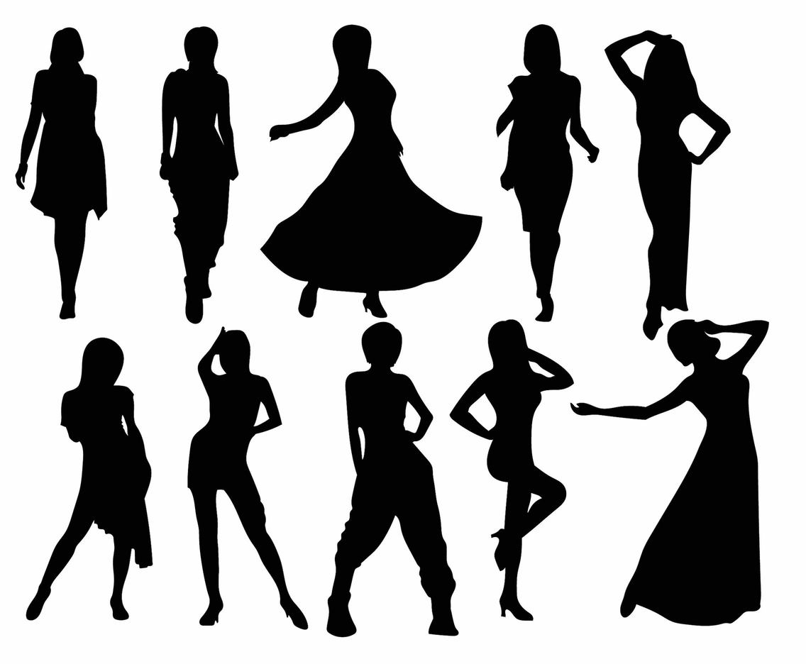 Woman Silhouette Set Vector Art Graphics Freevector Com
