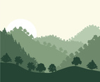 Rolling Hills Forest Background Vector