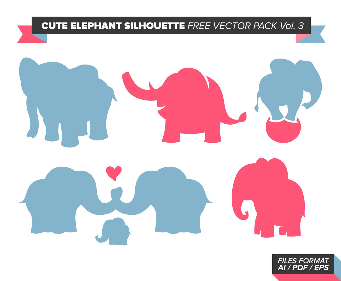 Cute Elephant Silhouette Free Vector Pack Vol. 3