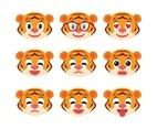 Free Cute Tiger Emoticon Set