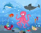 Free Marine Animal Under The Sea Cartoon Vector