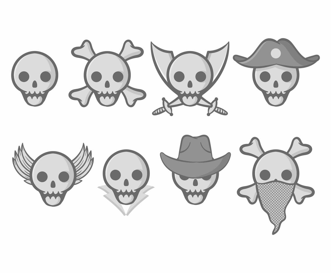 Free Cartoon Skull Vector Set