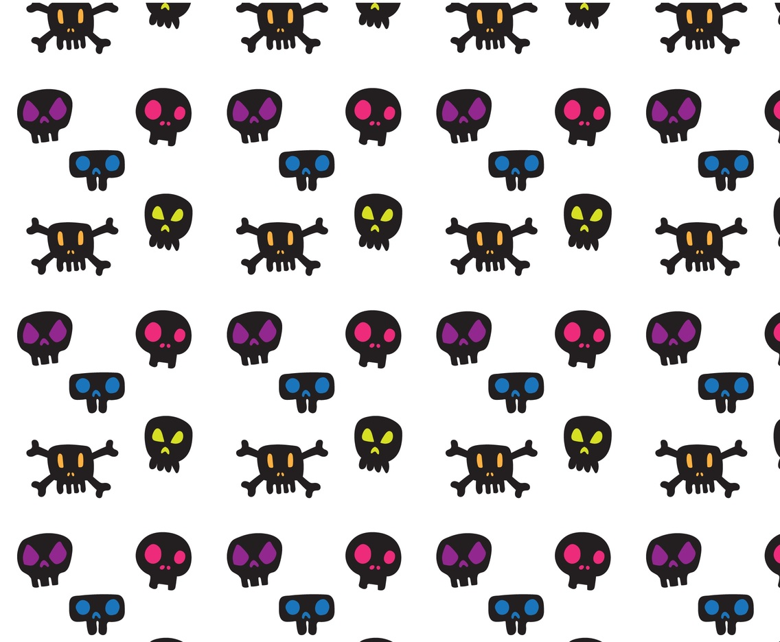 Free Colorfull Cartoon Skull Pattern Vector