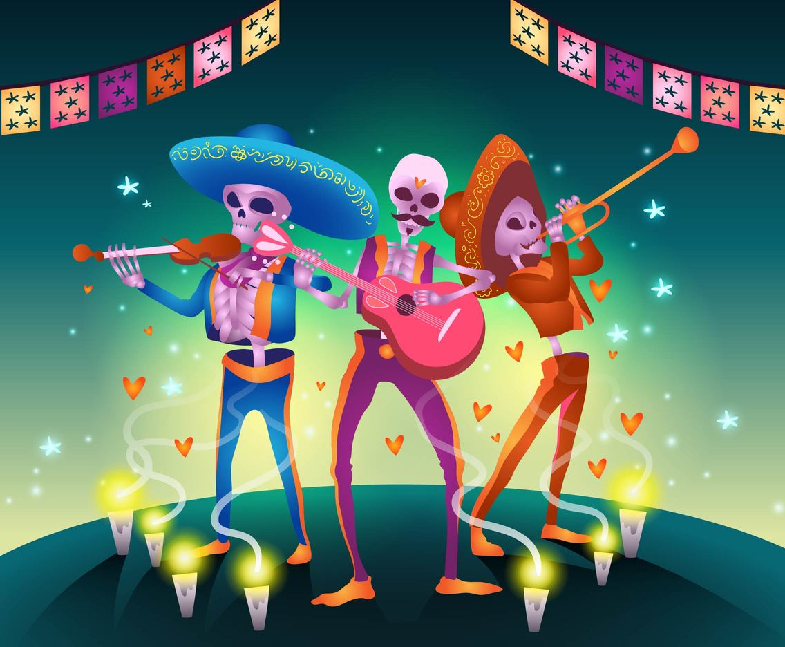 Cartoon Skull Mariachi Vector
