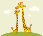 Free Cute Cartoon Giraffes Vector