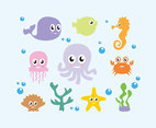 Cartoon Octopus and Friends Vector