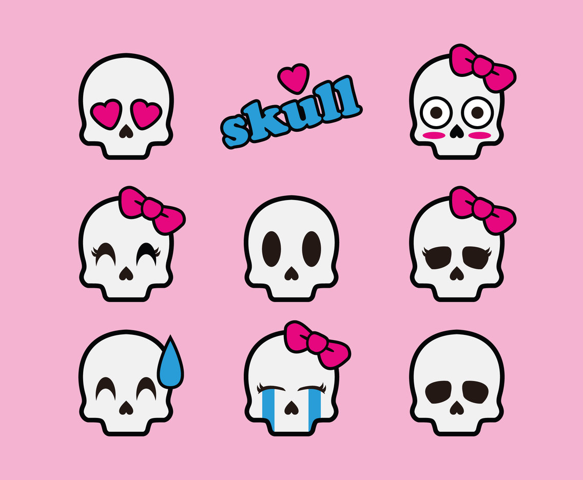 Cute Cartoon Skull Vector