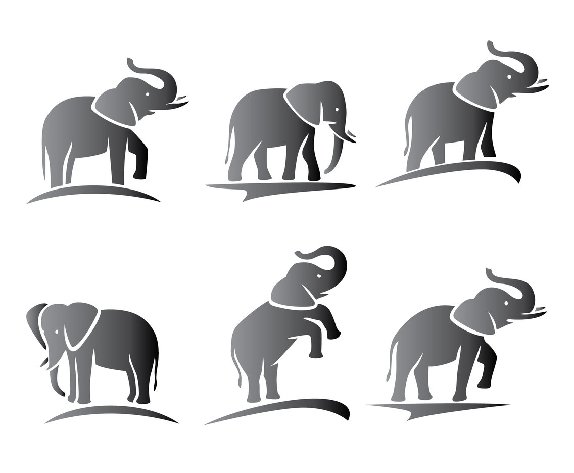 Elephant Silhouette Vectors Vector Art & Graphics ...