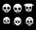 Six Cartoon Skull Vectors