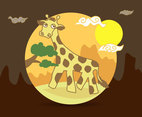 Cartoon Giraffe Vector Illustration