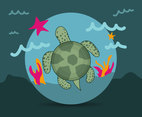 Cartoon Turtle Vector Illustration