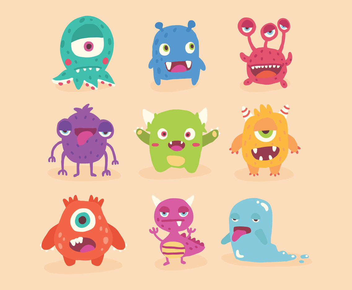 Set of Super Cute Monsters