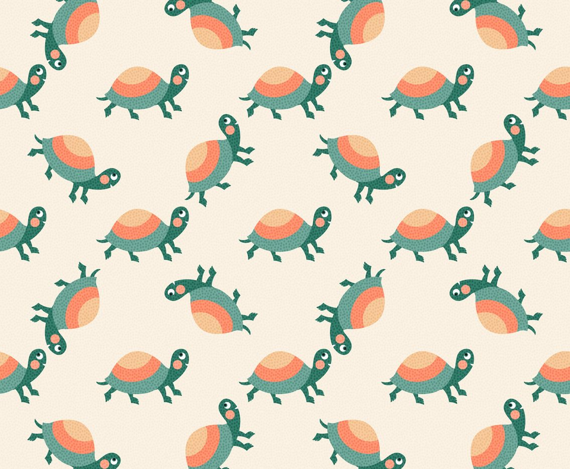 Free Cartoon Turtle Vector Pattern